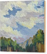 Clouds At Thousand Palms Wood Print