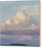 Clouds Glow In The Sky During Sunset Wood Print