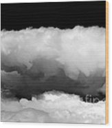 Clouds In Black And White Wood Print