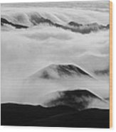 Maui Hawaii Haleakala National Park Clouds In Haleakala Crater II Wood Print