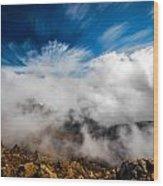 Clouds In Haleakala Wood Print