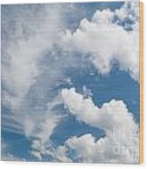 White Cirrus And Cumulus Clouds Formation Mix Wood Print