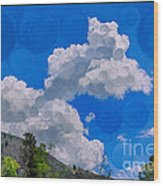 Clouds Loving A Friendly Mountain Landscape Painting Wood Print
