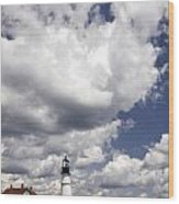 Clouds Of Glory - Portland Headlight Wood Print