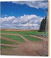 Clouds Over A Baseball Field, Field Wood Print