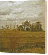 Clouds Over An Illinois Farm Wood Print