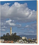 Clouds Over Coit Tower Wood Print