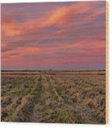 Clouds Over Landscape At Sunset Wood Print