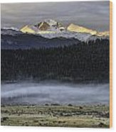 Clouds Over Longs Peak Wood Print by Tom Wilbert