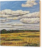Clouds Over Marsh In Wells Maine Wood Print