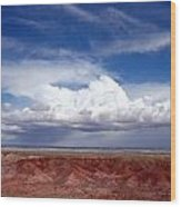 Clouds Over The Badlands Wood Print