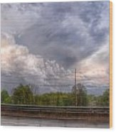 Clouds Over The Highway Wood Print