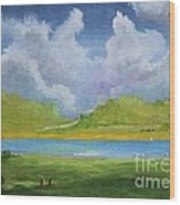 Clouds Over The Lake Wood Print