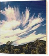 Clouds Over The Mountains Wood Print