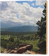 Clouds Over The Rockies Wood Print