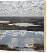 Clouds Reflected In Aleutian Lakes Wood Print