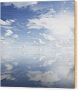 Clouds Reflected Wood Print