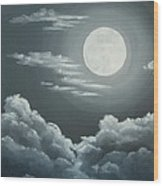 Clouds Under A Full Moon Wood Print