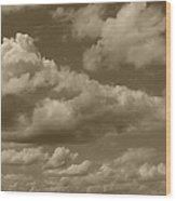 Cloudscape In Sepia Wood Print