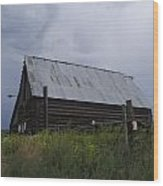 Cloudy Barn Wood Print