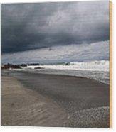Cloudy Beach Day Wood Print