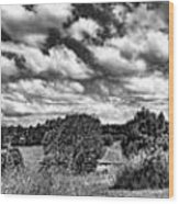 Cloudy Countryside Collage - Black And White Wood Print