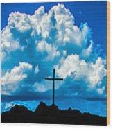 Cloudy Cross Wood Print