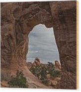 Cloudy Day At Pine Tree Arch Wood Print