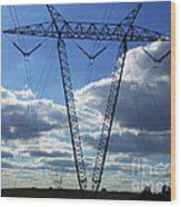 Cloudy Day Electric Grid Wood Print