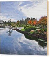 Cloudy Garden Reflections Wood Print