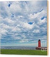 Cloudy Milwaukee Harbor Wood Print