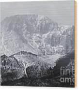 Cloudy Misty Pikes Peak Wood Print