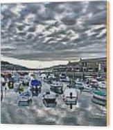 Cloudy Morning - Lyme Regis Harbour Wood Print