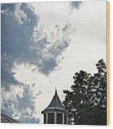 Cloudy Steeple Wood Print