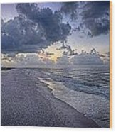 Cloudy Sunrise Over Orange Beach Wood Print