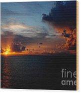 Cloudy Sunset Wood Print