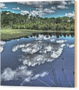 Cloudy Waters Wood Print