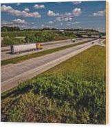 Clover Leaf Exit Ramps On Highway Near City Wood Print