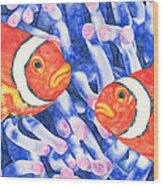 Clownfish Couple Wood Print