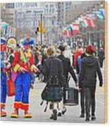 Clowns And Tartans Wood Print