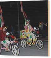 Clowns On Bikes Wood Print