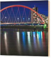 Clyde Arc Glasgow At Night Wood Print