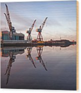 Clydeside Cranes Long Exposure Wood Print