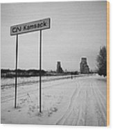 Cn Canadian National Railway Tracks And Grain Silos Kamsack Saskatchewan Canada Wood Print