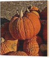 Knarly Pumpkin Wood Print