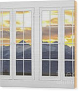 Co Mountain Gold View Out An Old White Double 16 Pane White Window Wood Print