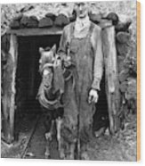 Coal Miner & Mule 1940 Wood Print