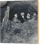 Coal Miners With A Canary Wood Print