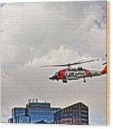 Coast Guard Chopper Over Boston Wood Print