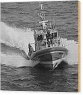 Coast Guard In Black And White Wood Print